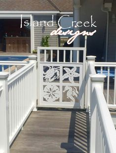 Custom Exterior PVC Vinyl Shutters w/ Nautical Cutouts, Decorative Exterior PVC House Trim, Nautical Vinyl Porch Railing Panels & Gates. Pvc Decking, Porch Railing, Deck Railing Design, Vinyl Shutters, Railing Design, Vinyl Fence, House Trim, Front Porch Design, Pvc Vinyl