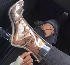 toe Transparent Ankle Boots - Gucci Boots - Ideas of Gucci Boots - Shoespie Peep-toe Transparent Ankle Boots Chunky High Heels, High Heel Boots, Heeled Boots, Ankle Boots, Boot Heels, Gladiator Boots, Cute Shoes, Me Too Shoes, Mode Glamour