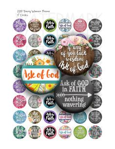 "2017 Young Womens Theme  If any of you lack wisdom, ask of God by GreenJelloSalad - Digital Collage Sheet - 1"" Circles - Bottlecap Images - LDS Young Women - 2017 Mutual Theme"