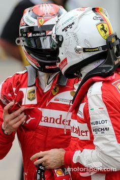 Sebastian Vettel, Scuderia Ferrari and Kimi Raikkonen, Scuderia Ferrari