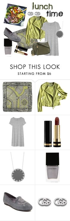"""""""Lunch time"""" by ysam ❤ liked on Polyvore featuring Etro, Dorothee Schumacher, Gap, Gucci, House of Harlow 1960, Witchery, Orthaheel, Marc Jacobs, GREEN and grey"""