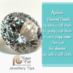 #JewelleryTip: Maintain #DiamondDazzle! Use a soft brush to gently scrub them in warm soapy water. Pat diamond dry with soft cloth.
