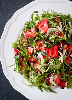 Strawberry, Fennel and Arugula Salad with Cacao Nibs via www.cafejohnsonia.com