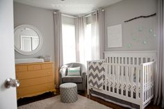 Gray and yellow nursery (LOVE those turquoise stars too!!) {Casa de Lewis}