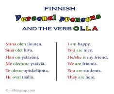 For beginners: an introduction to the Finnish personal pronouns — Finking Cap Degrees Of Comparison, Finnish Language, Finnish Grammar, Learn Finnish, Finnish Words, Learning Languages Tips, World Languages, Learn French, Vocabulary