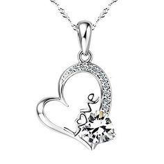 Valentines Day Gift White Gold Plated Forever Lover Heart Pendant Necklace Women #ValentinesNecklace #Pendant