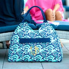 Make Waves Beach Tote - Monogram Tote - Womens Tote Bag - Blue Tote - Large Tote Bag - Bridesmaid Gift - Summer Beach Tote - Monogrammed Bag by SerenityoftheSouth on Etsy - Love this new pattern for this Summer! We offer several matching pieces.