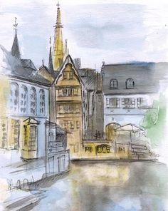 Belgium Canals watercolor sketch. Bruges Belgium by madareli