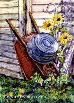 paintings of wheelbarrows | Wheelbarrow and Washtub watercolor painting