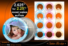 "TEMPLATE 53 Baby Photo 2.625"" circles for 2.25"" (2 1/4"") Buttons Badges Pocket Mirrors Resins Stickers Printable Download & Print Your Own DIY  by SunbeamFlowTemplates, $3.40  Supplies Scrapbooking Digital Collage Sheet button machine maker make custom badges pocket mirror maker downloadable supply customizable photo handmade images own photos template gift gifts tag tags baby shower stickers boy babies badge girl buttons layout polka dots graphics pink blue get 1 free"