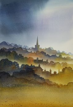 Paintings of the North Yorks Moors & Coast by Ian Scott Massie - Ian Scott Massie: painter and printmaker Watercolor Negative Painting, Watercolor City, Watercolor Landscape Paintings, Watercolor Sketch, Watercolor Portraits, Watercolor Illustration, Paintings I Love, Nature Paintings, Collagraph Printmaking