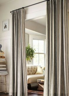 Stylish Diy Closet Door Curtains Ideas 28 - Home Decor Ideas 2020 Hallway Curtains, Curtains For Closet Doors, Doorway Curtain, Hanging Curtains, Bedroom Curtains, Curtain Closet, Beaded Curtains, Window Curtains, Bathroom Closet