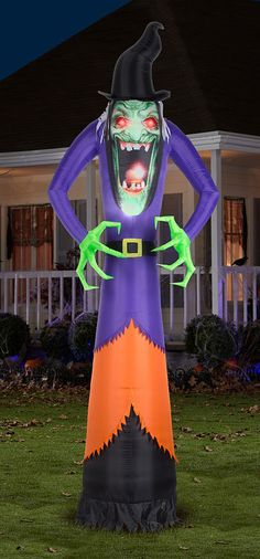 the 12 inflatable haunting hag available from hammacher schlemmer outdoor halloween decorationshalloween