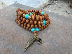 108 Turquoise and Beaded Wood Mala Necklace by EvolvingJewelry, $39.00
