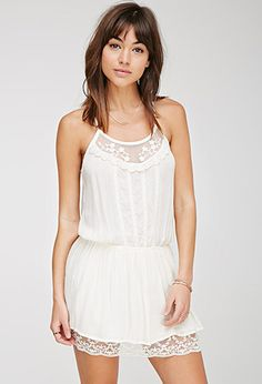 Embroidered-Mesh Drop-Waist Cami Dress   Forever 21 - 2000068570