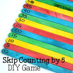 A couple of fun DIY Skip Counting by 5 games using popsicle sticks. These are great for kindergarten and first grade students to leaven counting by Skip Counting Activities, Counting In 5s, Math Activities, Math Games, Math Resources, Teaching Numbers, Math Numbers, Math Stations, Math Centers