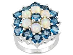 Round Cabochon Ethiopian Opal And 4.16ctw Round Barehipanit Topaz Sterling Silver Ring - EPH187 - JTV.com®