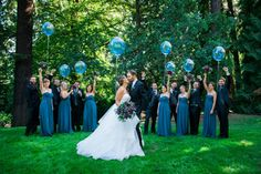 Wedding party with blue balloons- Bridalbliss.com | Portland Wedding | Oregon Event Planning and Design | Powers…