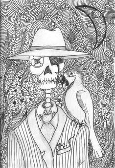 Mr Bones (encre noire) d'Elo May