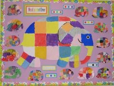 Painted Elmer Display, classroom display, class display, Story, Elmer, Elephant, colour, paint, patch,book, Early Years (EYFS), KS1 & KS2 Primary Resources