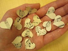 500 Heart Confetti, Music Note Confetti, Music theme Party, Hearts, Music Decor, Sheet Music Heart, Sheet Music Confetti by Oldendesigns on Etsy https://www.etsy.com/listing/178395984/500-heart-confetti-music-note-confetti