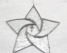 angel suncatcher glass pinwheel star, office decoration, angel art and collectibles, holiday decoration, glass art, home decor, window art