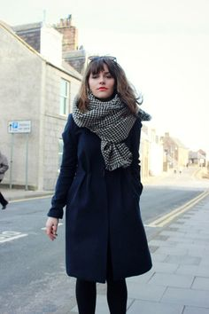 hounds tooth, scarf, wool, autumn, winter, fashion, coat, style