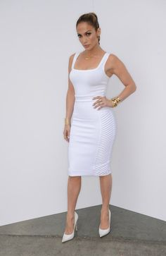 #JenniferLopez all White Dress - DesignerzCentral