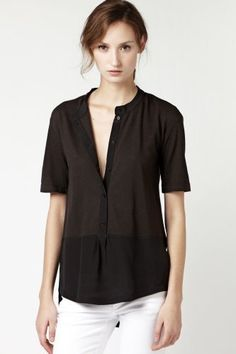 Elbow Sleeve Pique And Silk Crepe Top