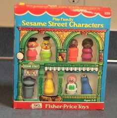 VINTAGE Fisher Price Little People SESAME STREET Play Family MINT in BOX - this site has vintage  FP toys for sale! love it!