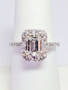 1.50CT Diamond Emerald Cut Halo Engagement Ring by FineJewlers