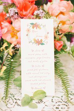 peach wedding menu cards ideas