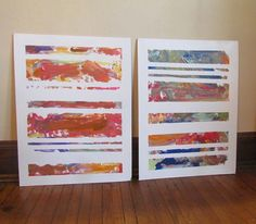 Colorful Striped Abstract (KIDS!) Art - fun new way to do art projects this Summer! via @whbsblog