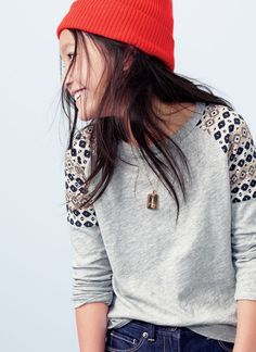 NOV '14 Style Guide: J.Crew girls geo raglan tee and ribbed cashmere hat.