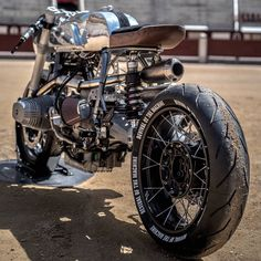 """Awesome custom BMW called """"Silver Bullet"""" built by XTR Pepo, one of the best custom motorcycle builders in the world. Bmw Cafe Racer, Moto Cafe, Cafe Bike, Cafe Racer Motorcycle, Motorcycle Design, Cafe Racers, Bike Bmw, Bmw Motorcycles, Custom Motorcycles"""