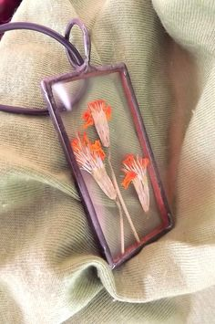 Jewelry. Flower jewelry. Orange flowers. Glass by AcoyaJewellery