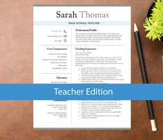 Teacher Resume Template for Word, Teacher Template, Education Resume ( 1, 2, 3 pages, Cover, Ref incl) Resume for Teacher | INSTANT DOWNLOAD by CreativeDesignSource on Etsy