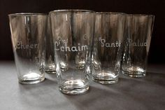 Etched typography glasses