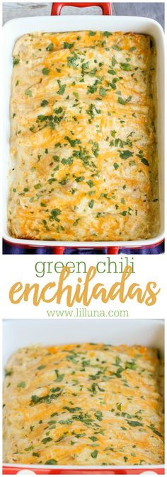 Creamy Green Chili Enchiladas made with flour tortillas and stuffed with chicken, cheese, sour cream and more. This dinner recipe is so easy and delicious! (Cream Cheese Chicken Chili)