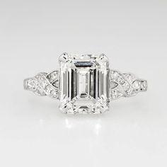 Sensational 1930's Art Deco 2.90ct t.w. Emerald Cut Diamond Filigree Engagement Wedding Ring Platinum - Antique & Vintage Jewelry