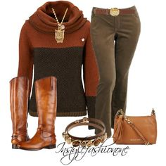 Winter outfit - Dark/Light Brown Turtle Neck, Olive Green Trousers, Brown Boots and Camel Purse. Winter Wear, Autumn Winter Fashion, Winter Style, Casual Winter, Fashion Fall, Work Fashion, Style Fashion, Fall Winter, Fashion Me Now
