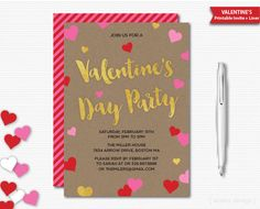 Valentines Invitation Valentines Day Party Invite Valentines Party Invitation…