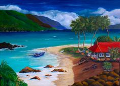 """Original Oil Painting """"Island Living"""" Plantation  ocean and beach front house in Hawaii by jeriayoung on Etsy"""