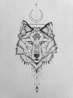 Resultado de imagem para geometric wolf tattoo