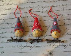 Cozy Bird Valentine Heart Ornament