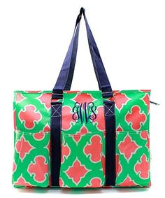 "Personalized Coral Moroccan Diamond 18"" Large Organizing Utility Tote Bag - Navy & Mint"
