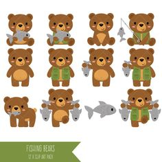 Fishing Bears Clipart / Cute Bear Clip Art