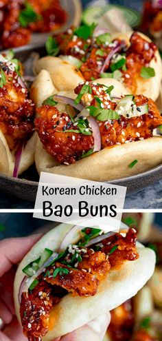 Korean Chicken Bao Soft, Steamed Mini Bao Buns with .- Korean Chicken Bao soft, steamed Mini Bao rolls with crispy Ko …… Crock Pot Recipes, Healthy Chicken Recipes, Asian Recipes, Beef Recipes, Cooking Recipes, Healthy Food, Recipies, Asian Foods, Easy Korean Recipes