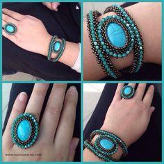 Bracelet and Ring -Beaded Bracelet - Blue Crystal Bracelet-Bead Ring-Blue Ring-Turquoise Ring