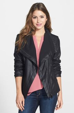 Drape leather jacket.